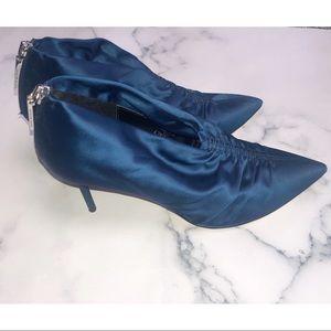 ZARA | Blue Satin Ruched Heel Booties 39